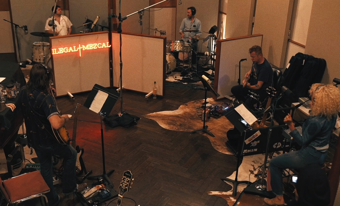 Overhead shot of SUSU recording at Niles City Sound